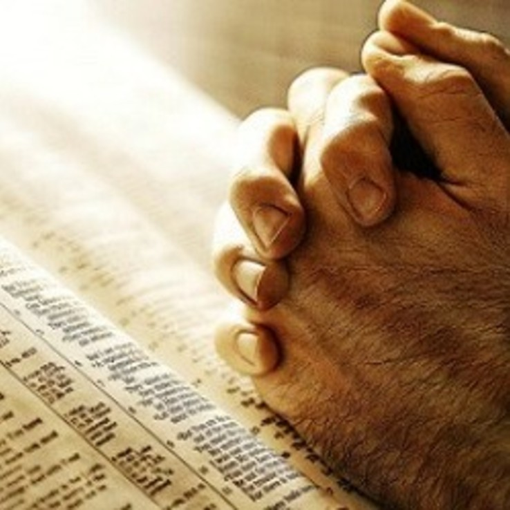 Hands And Bible Prayer Sq