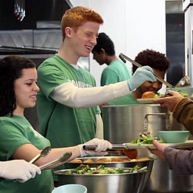 Teen Serving Food Sq